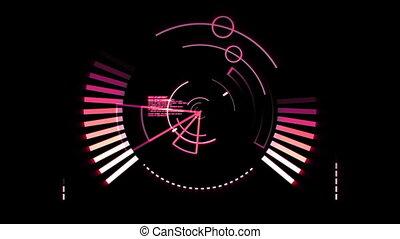 Pink radar screen against a black background