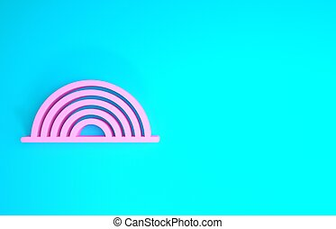 Pink Rainbow icon isolated on blue background. Minimalism concept. 3d illustration 3D render