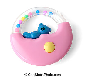 Pink rattle with a bear