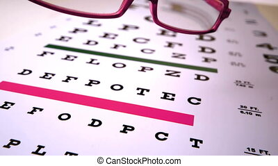 Pink reading glasses falling onto eye test in slow motion