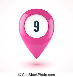Pink realistic 3D vector glossy map point symbol