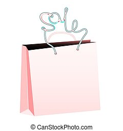 Pink realistic bulk paper shopping bag with rope handles in the form of an inscription sale on a white background and copy space. Vector illustration