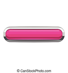 Pink rectangular button icon, cartoon style