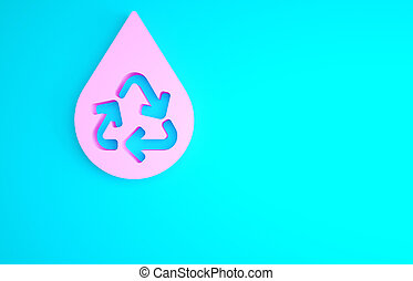Pink Recycle clean aqua icon isolated on blue background. Drop of water with sign recycling. Minimalism concept. 3d illustration 3D render