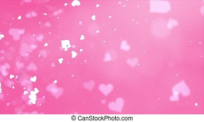 Pink Red love hearts bokeh sparkle glitter particle motion Loop background