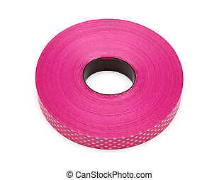 Pink red plastic ribbon on white background