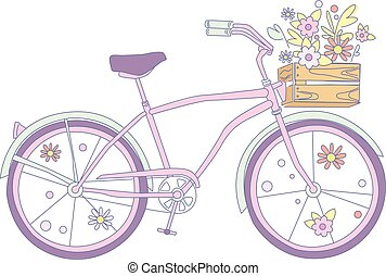 Pink retro bicycle with flowers in a wooden box vector illustration