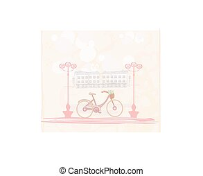 Pink Retro Bicycle with Flowers over City - card