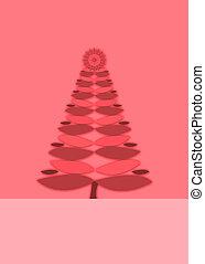 Pink retro Christmas tree background