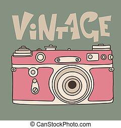 Pink retro film camera icon. Flat vector illustration. Analog photocamera. Vintage inscription.