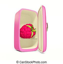 fridge - pink retro fridge on white background with...