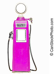 Pink retro gasoline pump isolated on white background
