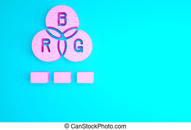 Pink RGB color mixing icon isolated on blue background. Minimalism concept. 3d illustration 3D render