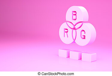 Pink RGB color mixing icon isolated on pink background. Minimalism concept. 3d illustration 3D render