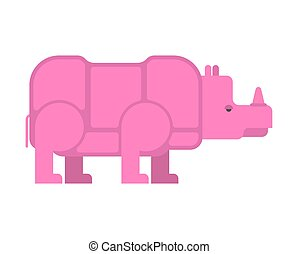 Pink rhinoceros isolated. Unique vanishing animal. Fantastic beast