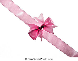 Pink ribbon and bow over white