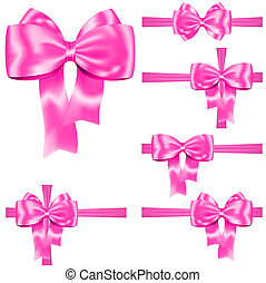 Pink ribbon and bow set for decorating gifts and cards on...