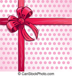 Pink ribbon and bow vector illustration