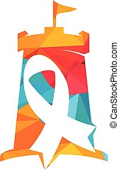 Pink ribbon and castle vector logo design. cancer awareness symbol.