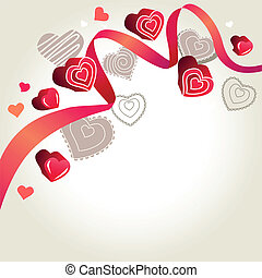 Pink ribbon and contour hearts on light grey background