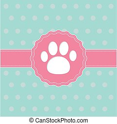 Pink ribbon and label with paw print. Card.