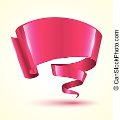 Pink ribbon banner twist. Vector illustration.