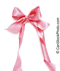 ribbon bow - pink ribbon bow isolated on white background