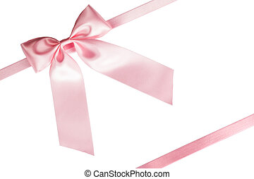 Pink ribbon bow on white