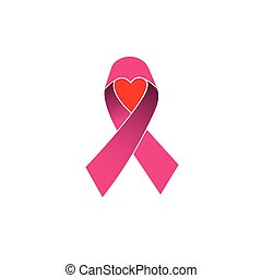 pink ribbon, breast cancer awareness vector icon isolated on white background with heart or love symbol of hope