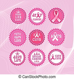 Pink Ribbon Breast Cancer Awareness Icons Set Isolated