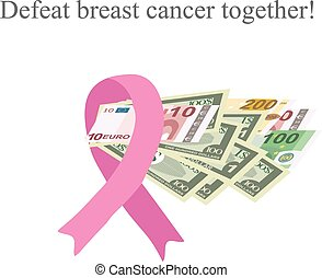 Pink Ribbon Breast Cancer. Money for the diagnosis and treatment of breast cancer. Charity. Vector illustration on isolated background.