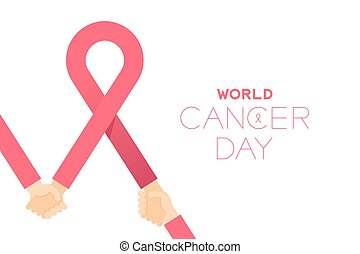 Pink ribbon cancer sign with Holding hands, World cancer day concept layout poster template design illustration isolated on white background with copy space