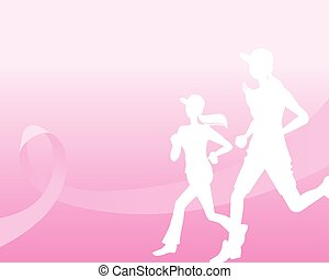 Pink ribbon concept with running woman silhouette