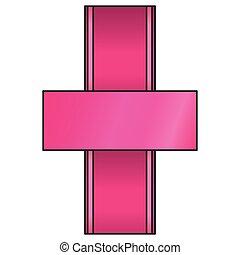 pink ribbon emblem icon image