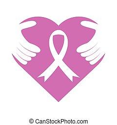 Pink Ribbon Heart Hug