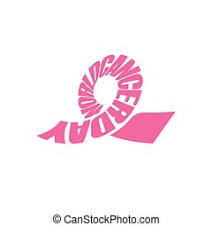 Pink ribbon, lettering, world cancer day symbol. Breast cancer, hope logo. Awareness, design element, pink icon on white background.