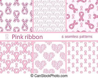 Pink ribbon medical healthcare set seamless pattern