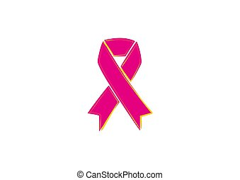 pink ribbon on a white background in vector illustration