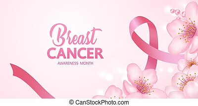 Pink ribbon on pink background of breast cancer awareness vector illustration.