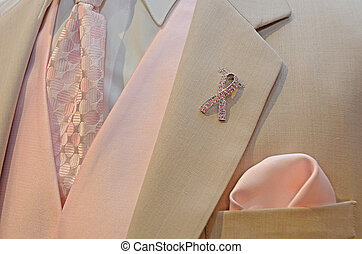 pink ribbon on wedding tuxedo - Breast cancer awareness...