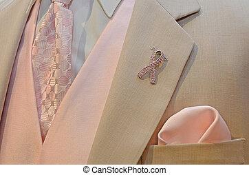 pink ribbon on wedding tuxedo - Breast cancer awareness...