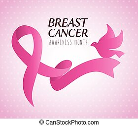pink ribbon, symbol of world breast cancer awareness month with dove