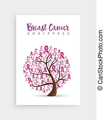 Pink ribbon tree for breast cancer awareness