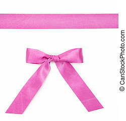 Pink ribbon with a bow isolated on white background