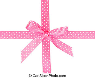 Pink ribbon with bow and polka dot, isolated on white...