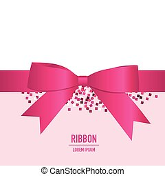 Pink ribbon with bow. Vector illustration