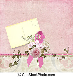 Pink ribbon with vintage postcard