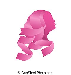 pink ribbon with woman face, badge, breast cancer awareness