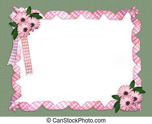 Pink ribbons daisy border