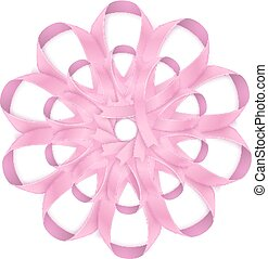 Pink ribbons round bow isolated on white background